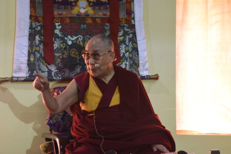 His Holiness the Dalai Lama speaking to members of the press at Tawang, Arunachal Pradesh.