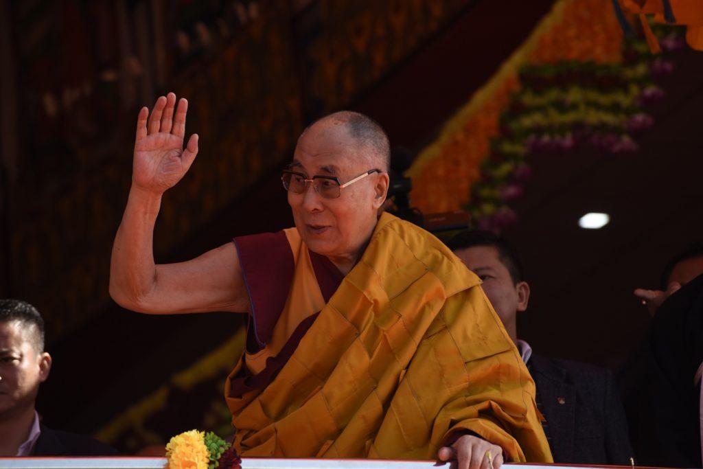 His Holiness the Dalai Lama waves to the crowd in Tawang, April 10, 2017. Photo @ Jayang Tsering, DIIR