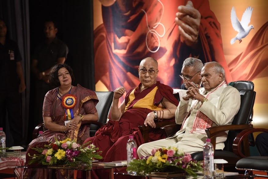 Director of Assam Tribune, His Holiness the Dalai Lama and Governor of Assam Shri Banwarilal Purohit during the Platinum Jubilee Celebration of the Assam Tribune at Pragjyoti ITA in Guwahati, Assam on 1 April 2017. PHOTO/Jayang Tsering/DIIR