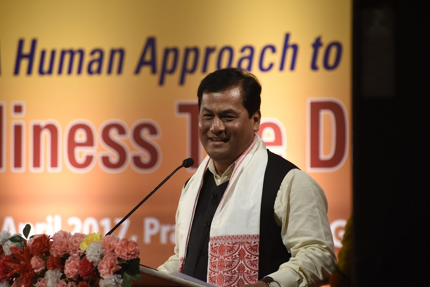Chief Minister of Assam Sarbananda Sonowal addressing the closing ceremony of the platinum jubilee celebration of the Assam Tribune at ITA center, Guwahati in Assam, 1 April 2017. PHOTO/Jayang Tsering/DIIR