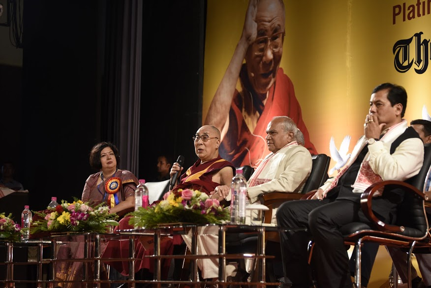 His Holiness the Dalai Lama addressing the audience at the Platinum Jubilee Celebration of the Assam Tribune at Pragjyoti ITA in Guwahati, Assam on 1 April 2017