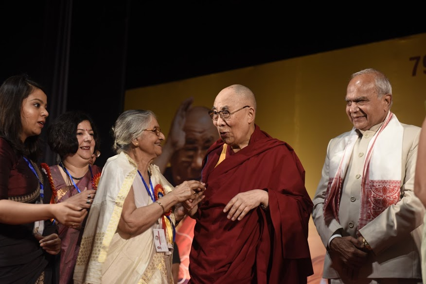 His Holiness the Dalai Lama with family members who own the Assam Tribune at Pragjyoti ITA in Guwahati, Assam on 1 April 2017. PHOTO/Jayang Tsering/DIIR