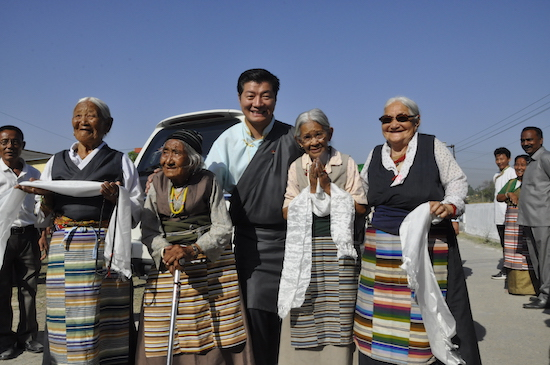 Sikyong with several senior members of the Tibetan community in Paonta Cholsum, 3 April 2017.