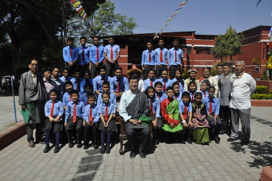 Sikyong with senior students of CST school Herbertpur, 3 April 2017.
