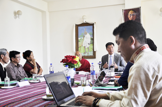 Sikyong speaking at the education council meeting.