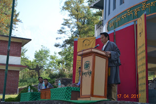 Health Kalon Choekyong Wangchuk speaking to students in TCV Gopalpur.