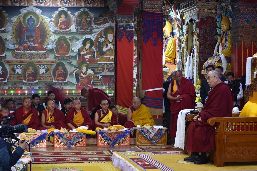His Holiness the Dalai Lama during the welcome ceremony at Tawang monastery, 7 April 2017. Photo@Jayang Tsering, DIIR