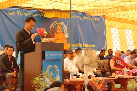 Mr Jamyang Gelek, Settlement officer of Paonta Cholsum Tibetan settlement addressing the public.
