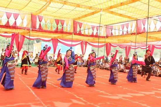Artistes performing cultural dances at the golden jubilee celebration of Paonta Cholsum.