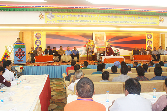 Speaker Khenpo Sonam Tenphel of the Tibetan Parliament speaking at th conluding ceremony of Tibetan Traders Association meeting.