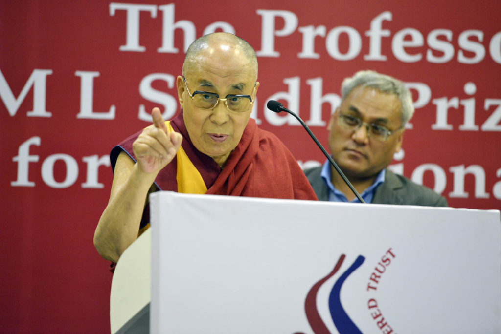 His Holiness the Dalai Lama Speaking at the event 'Professor ML Sondhi Prize for International Politics 2016' at India International Centre. Photo @Lobsang Tsering / OHHDL