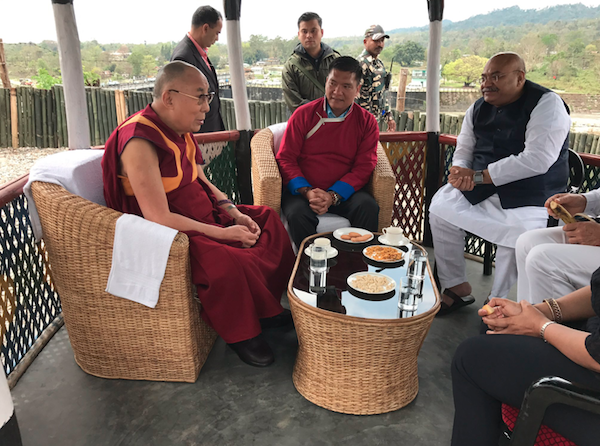His Holiness the Dalai Lama and Arunachal Pradesh Chief Minister Pema Khandu with Shri Sudhanshu, a BJP member taking a break for tea at Bhairabkunda on their journey by car to Arunachal Pradesh from Assam on April 4, 2017. Photo/Pema Khandu