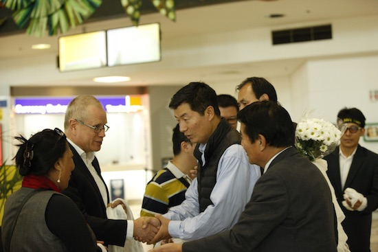 Sikyong being welcomed by well wishers on his arrival at