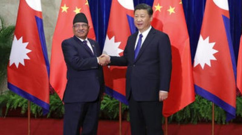 Nepal Prime Minister Pushpa Kamal and Chinese President Xi Jinping