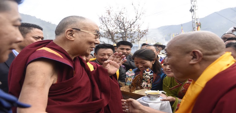 His Holiness the Dalai Lama Arrives In Tawang To A Rousing Welcome