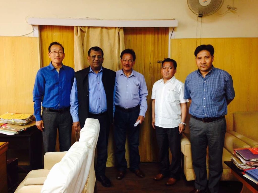 Mr Chhimey Rigzen with CEC, LAHDC Dr. Sonam Dawa and Principal Secretary Home, Mr. R.K Goyal