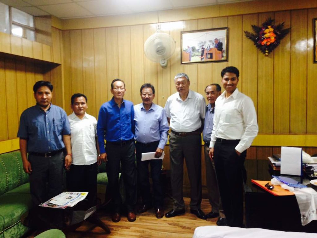 Mr Chime Rigzen with Mr. Chewang Dorjay, Co-operatives & Ladakh Affairs Minister and Mr. Prassana Ramaswamy, DC, Ladakh.