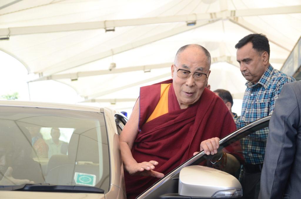 His Holiness the Dalai Lama at Gagal airport. April 12, 2017, Photo @ Lekmon, DIIR