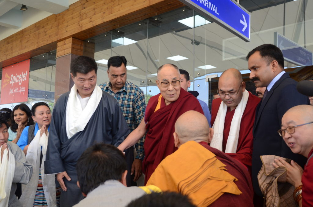 Speaker Khenpo Sonam Tenphel and Sikyong Dr. Lobsang Sangay receive His Holiness the Dalai Lama at Gagal airport. April 12, 2017. Photo @ Lekmon, DIIR