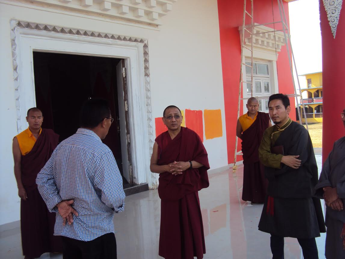 Kalon Karma Gelek Yuthok visits a monastery during his official visit to Tibetan settlements in Odissa, Bhandara and Mainpat.