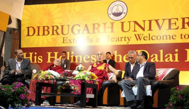 His Holness the Dalai Lama speaking at Dibrugarh University in Dibrugarh, Assam, 3 April 2017.