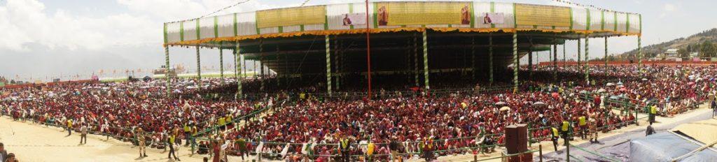 Over 50,000 devotees attend His Holiness' teachings Yiga Choezin teaching ground. Photo @ Jamyang Tsering, DIIR