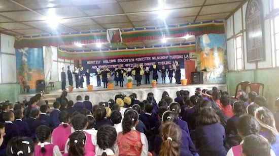 Cultural performance by students of Sambhota school, Tenzinkhang during Education kalon's visit.