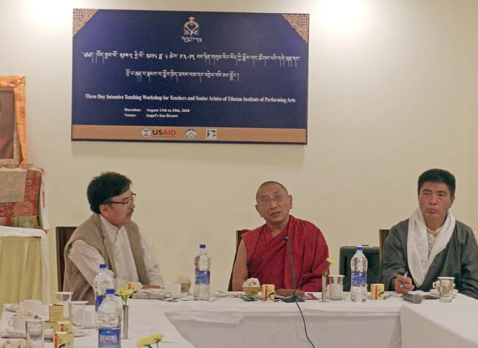 Kalon Karma Gelek Yuthok, Department of Religion and Culture, CTA addressing the inaugural ceremony of the 3-day Intensive Teaching Workshop for Teachers and Senior Artistes of TIPA, 13 August 2018. Photo/Tenzin Jigme/DIIR