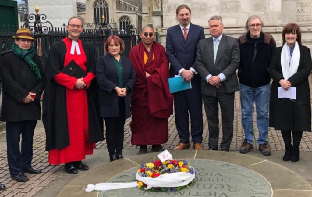 The Reverend Anthony Ball Canon In Residence Along With Members Of Uk Parliament And Tibetan Parliamentarian Taking Part Wreath Laying