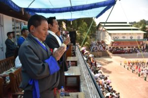 Chief guest Speaker of TPiE Pema Jungney and Health Kalon Choekyong Wangchuk at the opening ceremony of the 25Gyalyum Chenmo Memorial Gold Cup Football tournament. Photo/Tenzin Jigme/CTA
