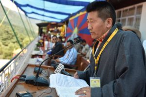 Secretary of Tibetan National Sports Association Passang Dorjee giving a brief introduction of the Association at the event. Photo/Tenzin Jigme/CTA