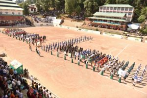 Birds-eye-view of all the teams gathered on the ground for the official opening of the 25th GCMC 2019. Photo/Tenzin Jigme/CTA