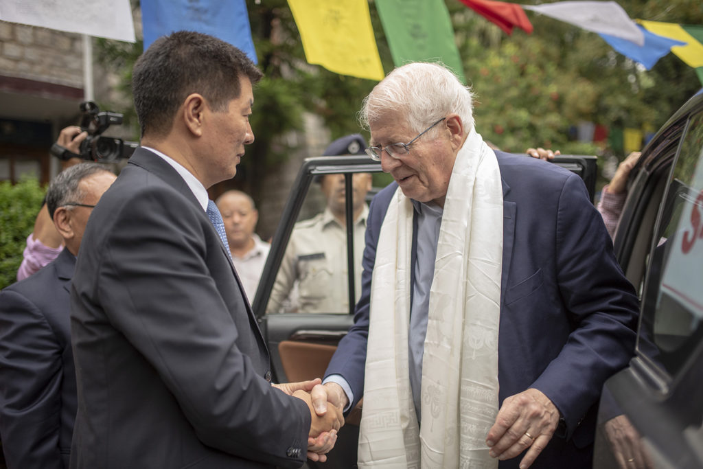 CTA President Dr Lobsang Sangay welcomes Congressman David Price to Dharamshala at Norbulingka Institute, 2 August 2019. Photo/Tenzin Jigme/CTA