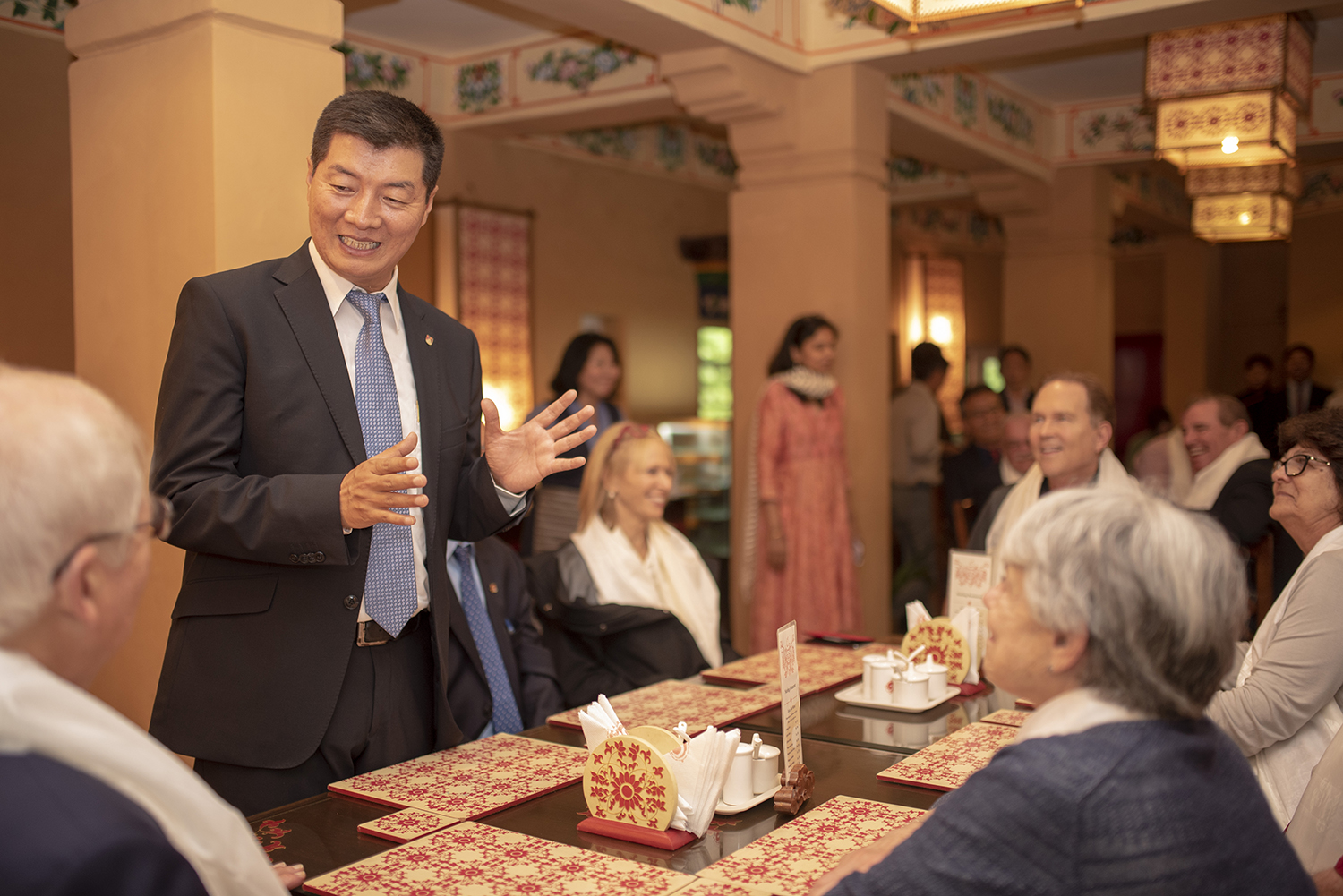 CTA President Dr. Lobsang Sangay speaking to the delegation at Norbulingka restaurant. Photo/Tenzin Jigme/CTA