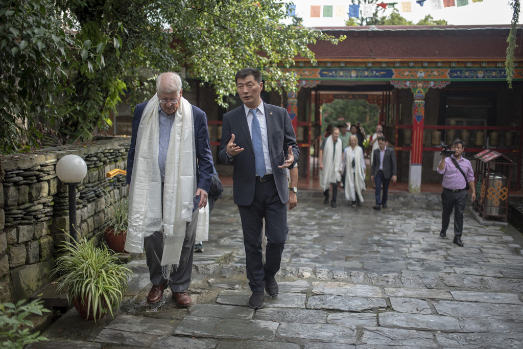 President Sangay and Congressman David Price walking towards the Norbulingka Institute's temple. Photo/Tenzin Jigme/CTA
