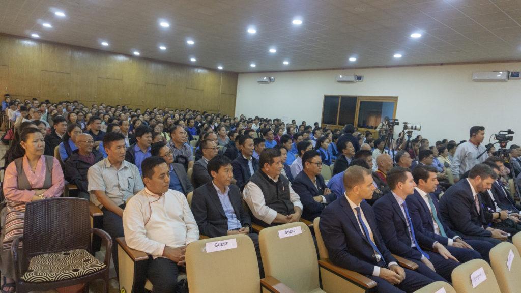 A venue packed audience during the Congressman David Price's talk at T building, Gangchen Kyishong, CTA. Photo/Tenzin Jigme/CTA
