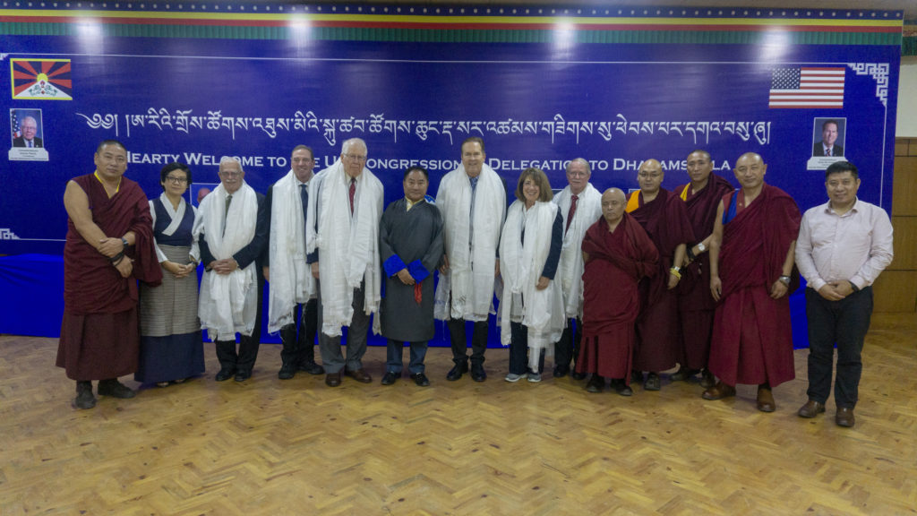 The US delegation with Speaker and executive committee members of the Tibetan parliament in exile. Photo/Tenzin Jigme/CTA