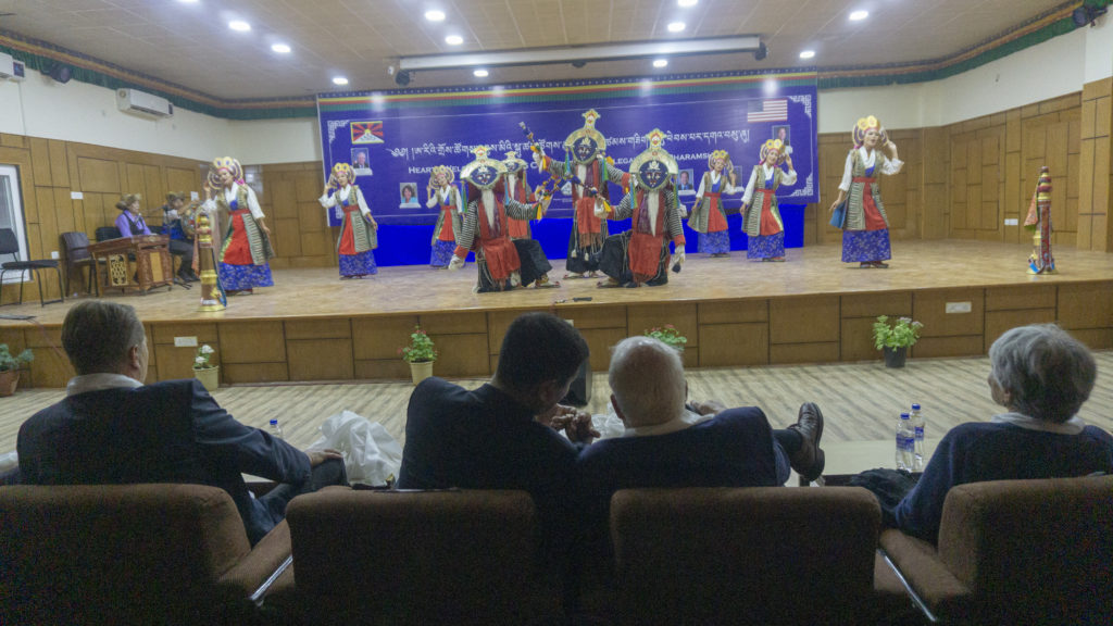 CTA President Dr Lobsang Sangay is seen giving an explanation to Congressman David Price on Ngonpas (masked Tibetan dance) ceremonial dance performance by artistes of Tibetan Institute of Performing Arts. Photo/Tenzin Jigme/CTA