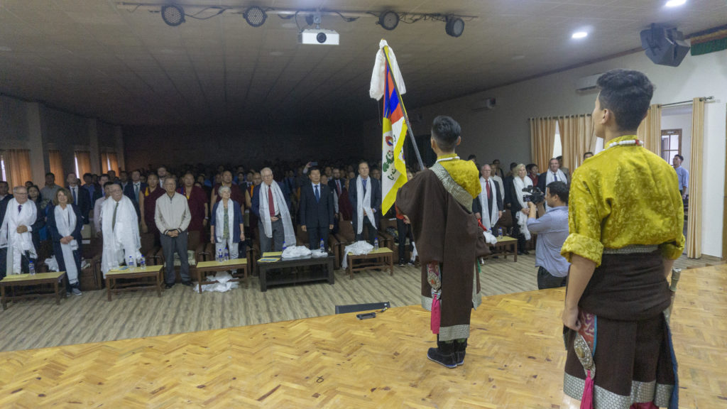 Singing of Tibetan National Anthem at the end of culture performance. Photo/Tenzin Jigme/CTA