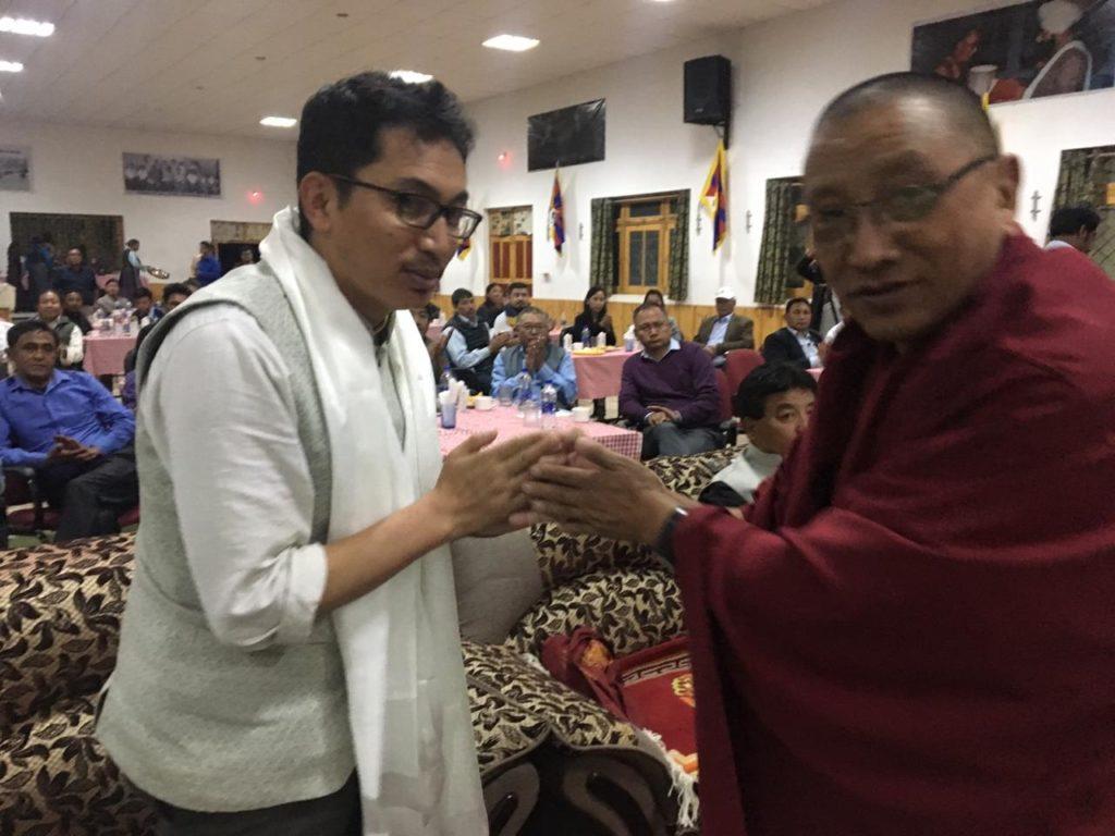 Kalon Karma Yuthok greeting Jamyang Tsering Namgyal, MP, Ladakh