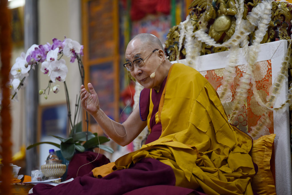Seated gracefully in the ceremonial chair, His Holiness addressing the gatherings at the Long Life Ceremony, Mcleod Ganj, 13 September 2019. Photo/Tenzin Jigme Taydeh/CTA