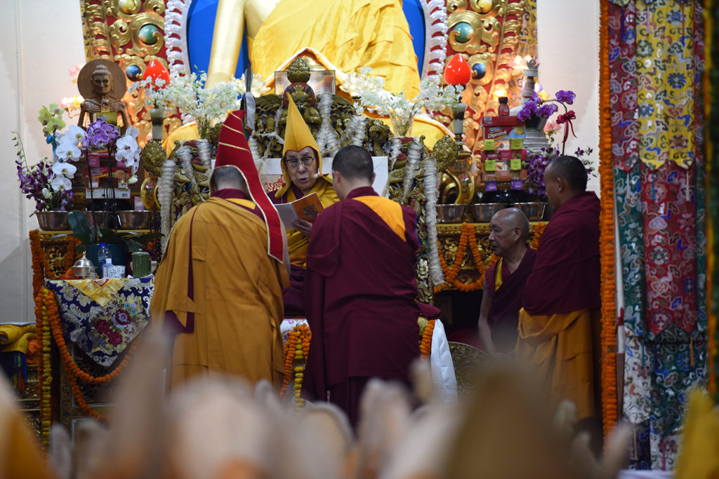 His Holiness the Dalai Lama praying at the beginning of the long-life prayer (Tenshug) for him at the main temple in Mcleod Ganj, on 13 September 2019. Photo / Tenzin Jigme Taydeh / CTA
