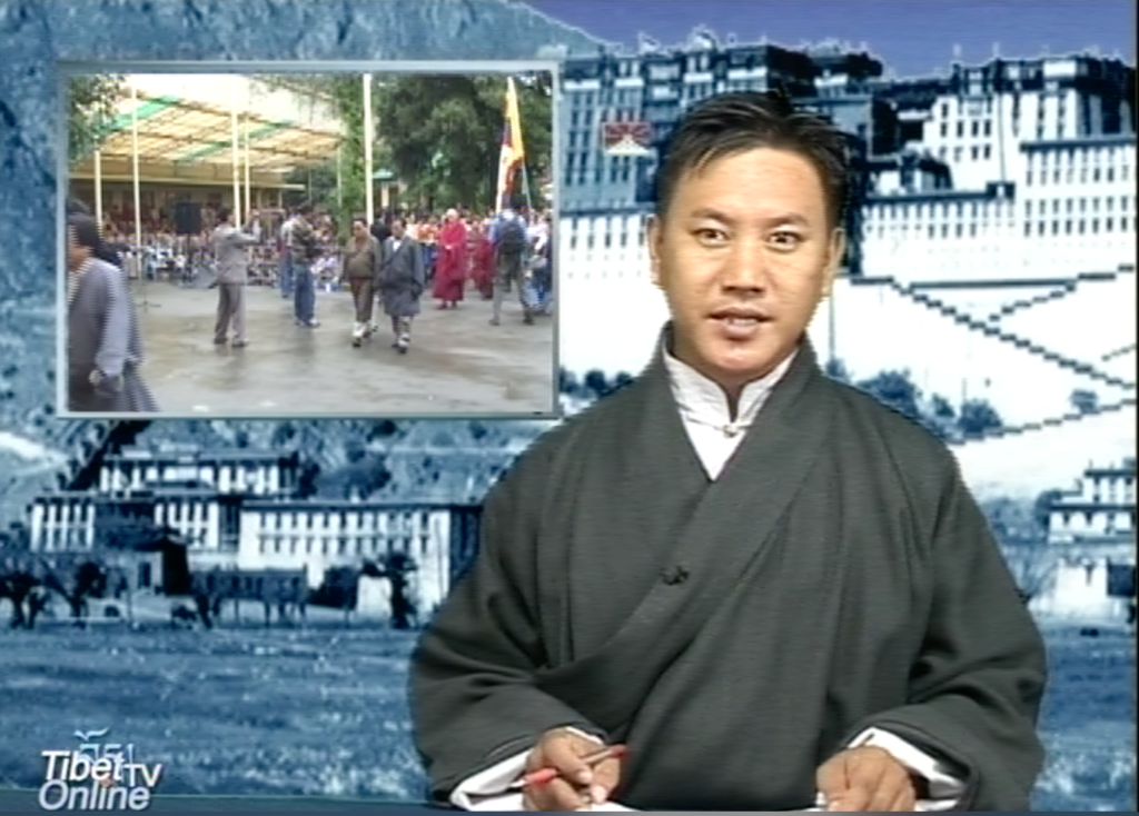 Mr. Namgyal Tsewang as the first anchor for Tibet TV News, Department of Information and International Relations, CTA.
