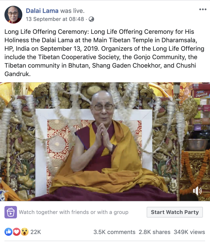 Live webcast of the Long Life Prayer Ceremony via Facebook page @DalaiLama (English version) receive 22k likes, 3.5 k comments, 2.8 k shares, and 349 k views. Photo/Screengrab