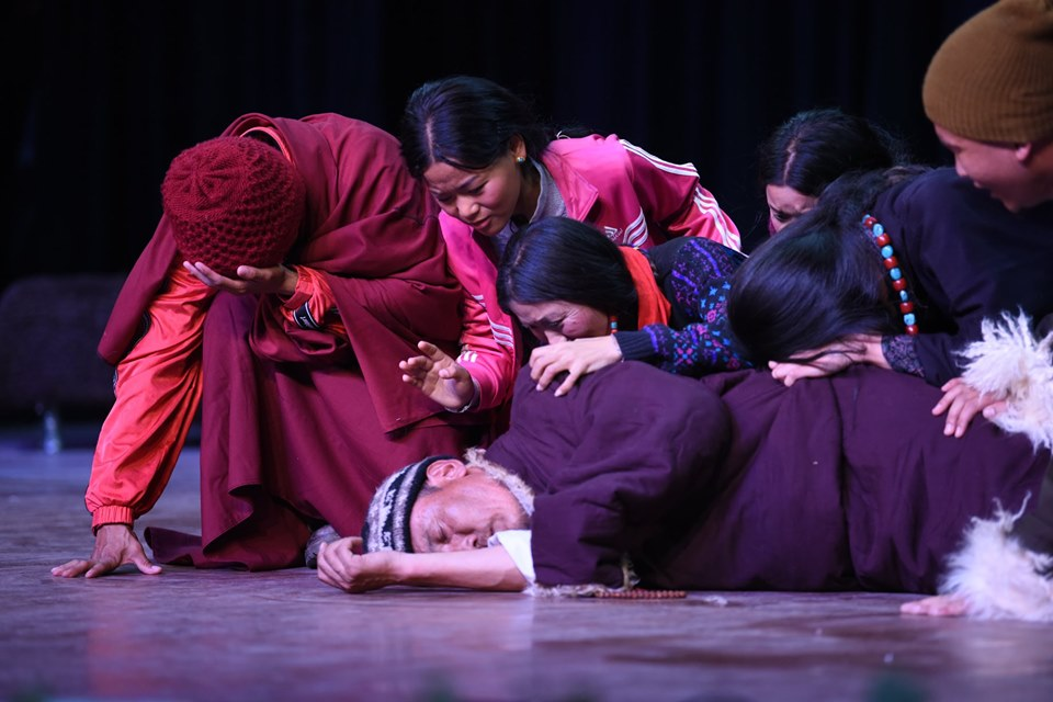 TIPA artists performing a skit on Chinese influence on the traditional way of life of Tibetan nomads in Tibet. Photo|Tenzin Jigme|CTA