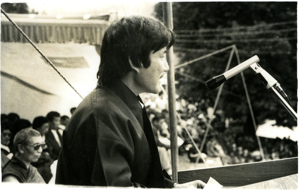 Mr. Sonam Dagpo, President of Tibetan Youth Congress(TYC), addressing to the general public on the birthday of His Holiness the Dalai Lama in Gangchen Kyishong, 6 July 1984. (TYC President from 1983-86)