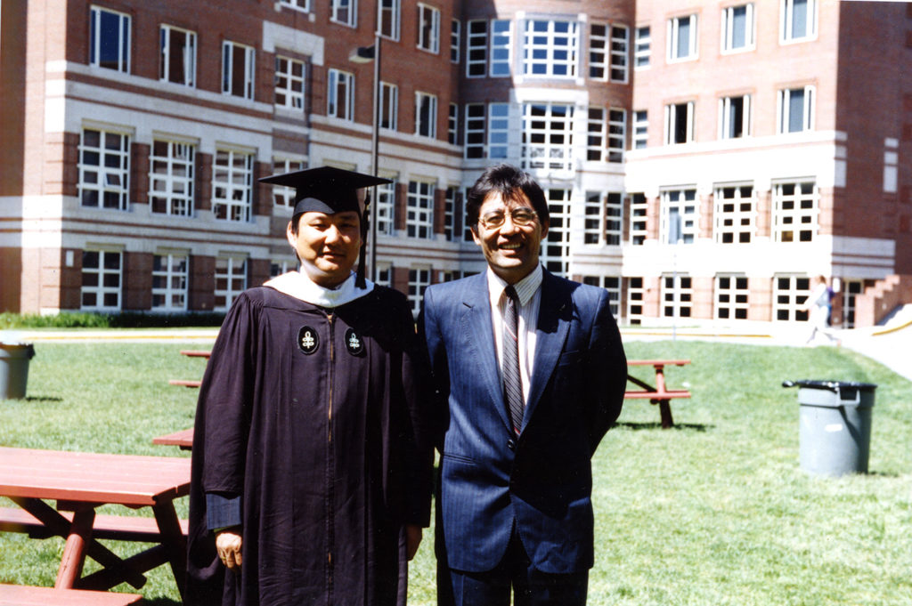 Mr. Sonam Norbu Dagpo is accompanied by Mr. Thupten Samphel during the academic convocation. He earned a Master's of Public Administration degree from John F. Kennedy School of Government, Harvard University, US, 1994