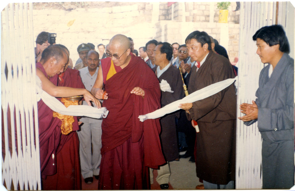 His Holiness the Dalai Lama consecrates the newly-built Department of Information and International Relations,1988. Mr. Sonam Norbu Dagpo (then a staff of Kashag Secretariat) takes part in the consecration ceremony.