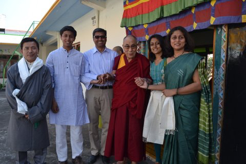 Indian agri-business company delegates receiving blessing from His Holiness the Dalai Lama at Mundgod in 2013.