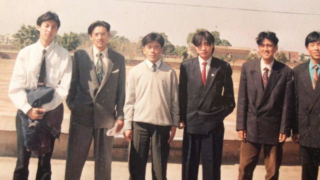 Mr. Dhondup Tsering with friends after an annual college function in 1993.